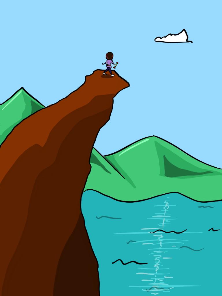 standing atop mountain