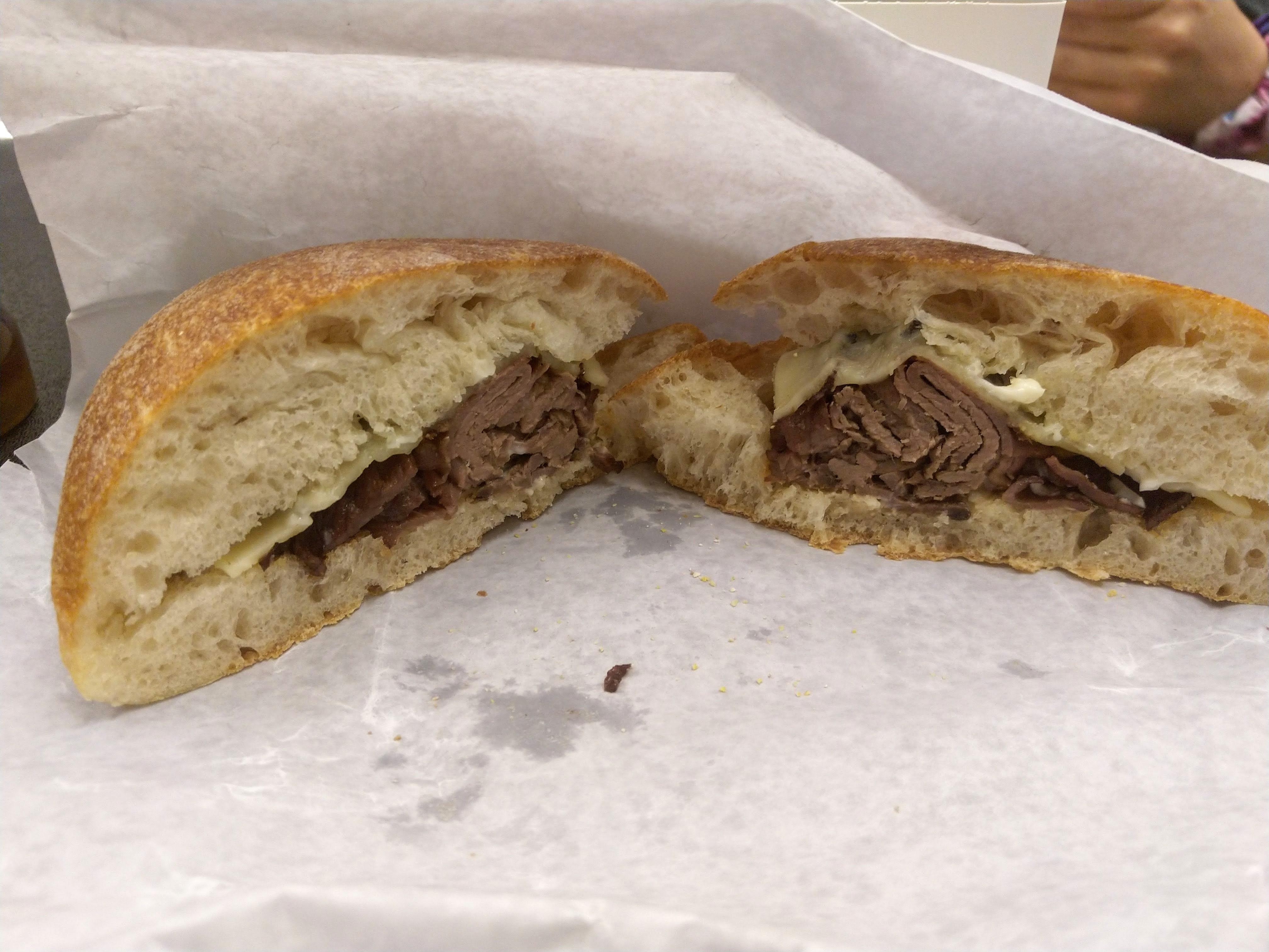 a steak and cheese sandwich