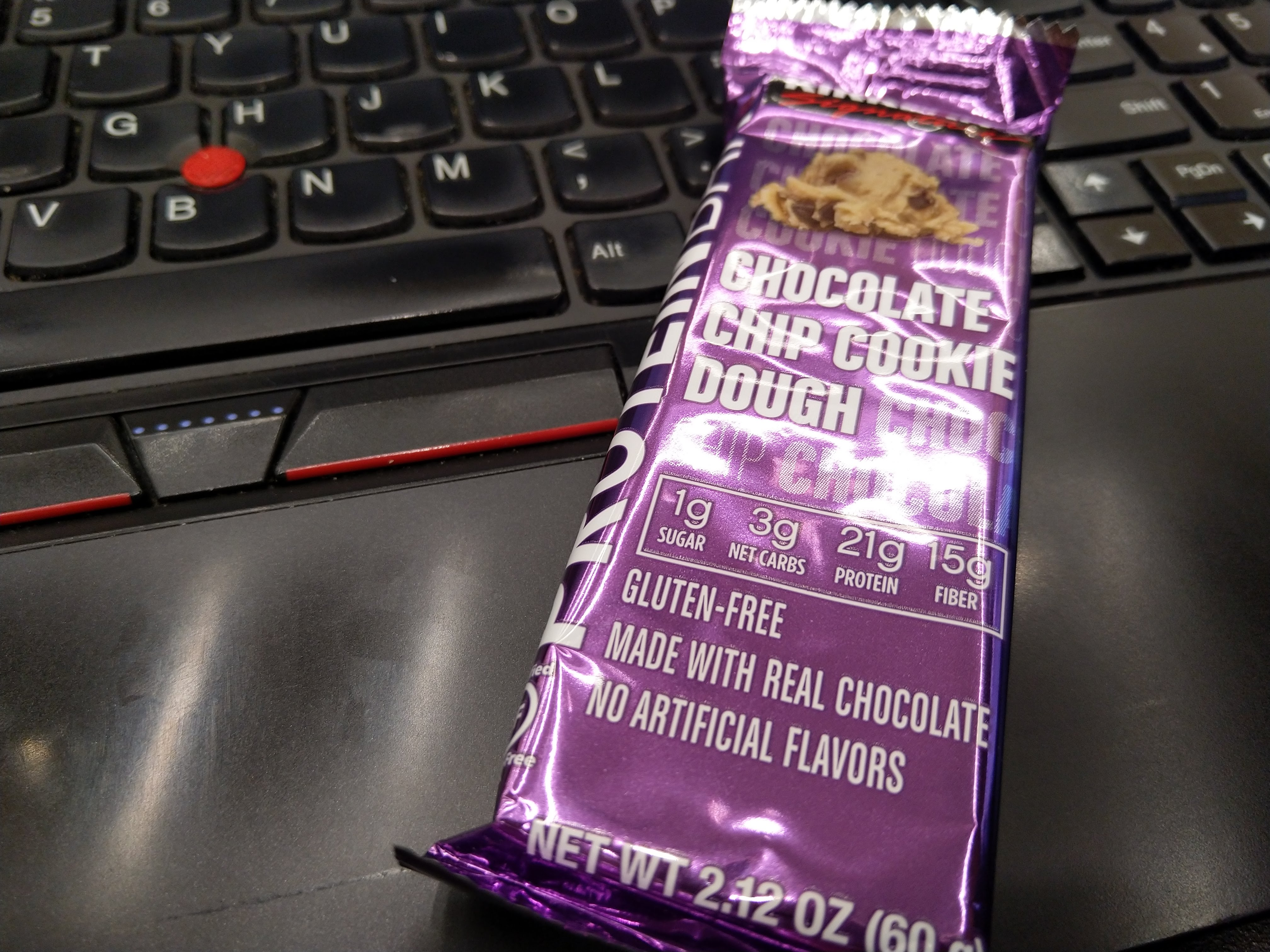 a chocolate chip cookie dough protein bar