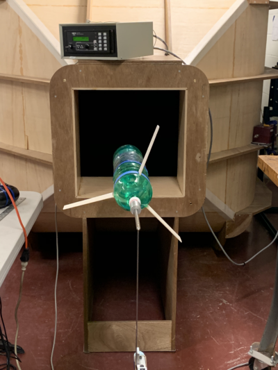 a bottle rocket in a wind tunnel