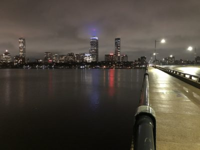 Picture of the Harvard Bridge and the Charles River at night
