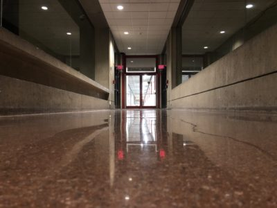 the hallway leading to building 66
