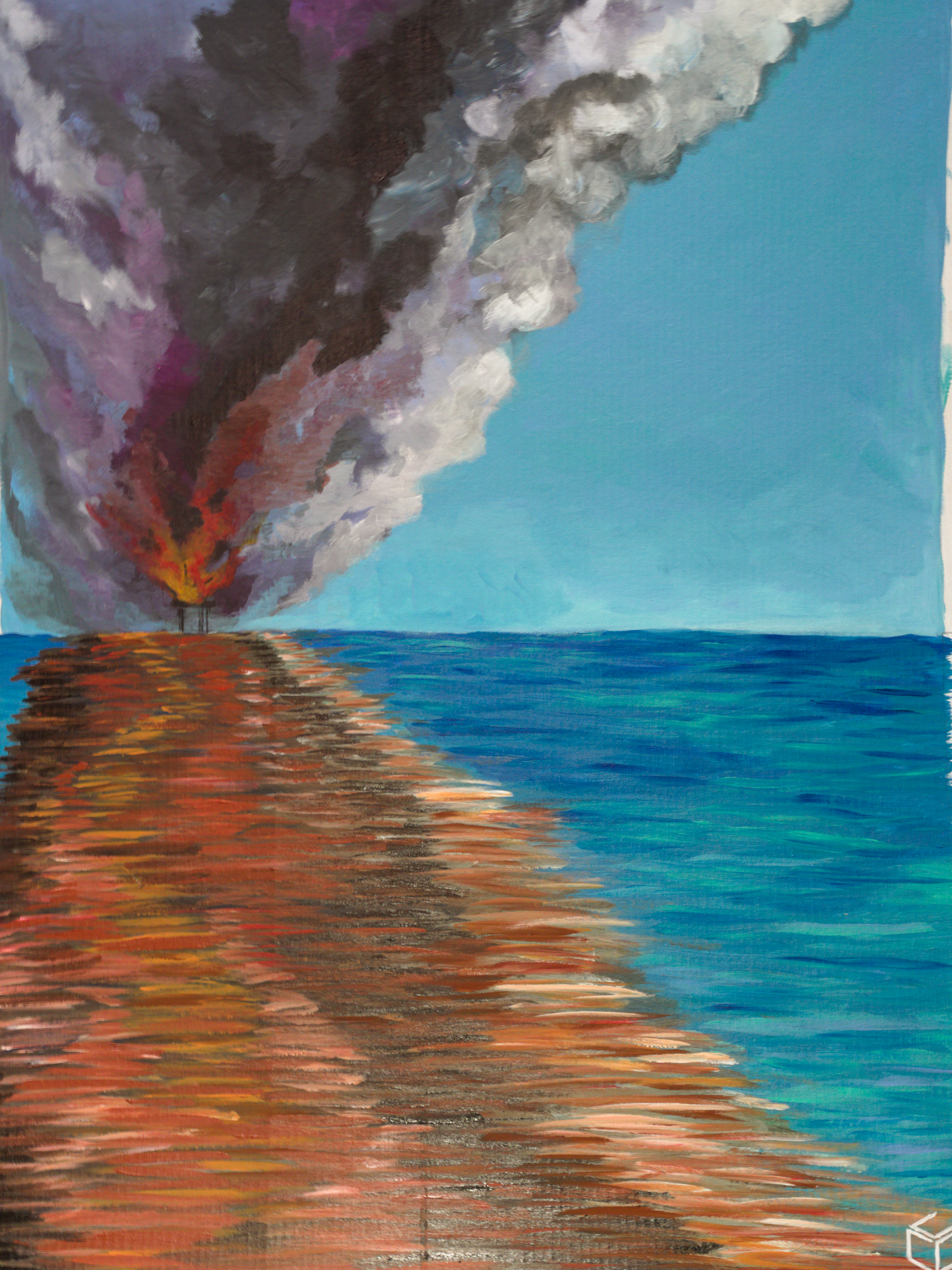 An impressionist-style painting of a blue ocean and sky. On the horizon, a burning oil rig has turned the air and water around it smoky and reddish.