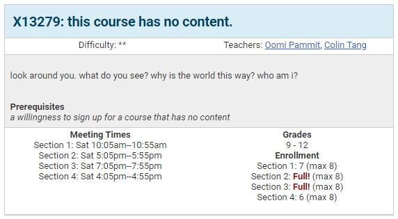 class description for colin's course, this course has no content.