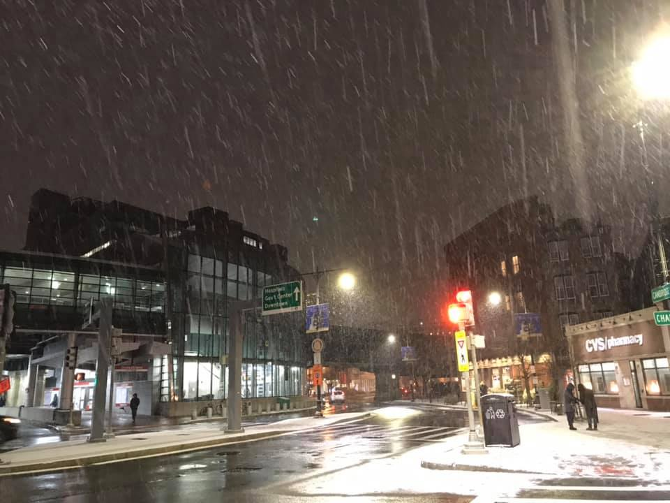 downtown boston!! with snow!! on the streets!! and raining from the heavens!!