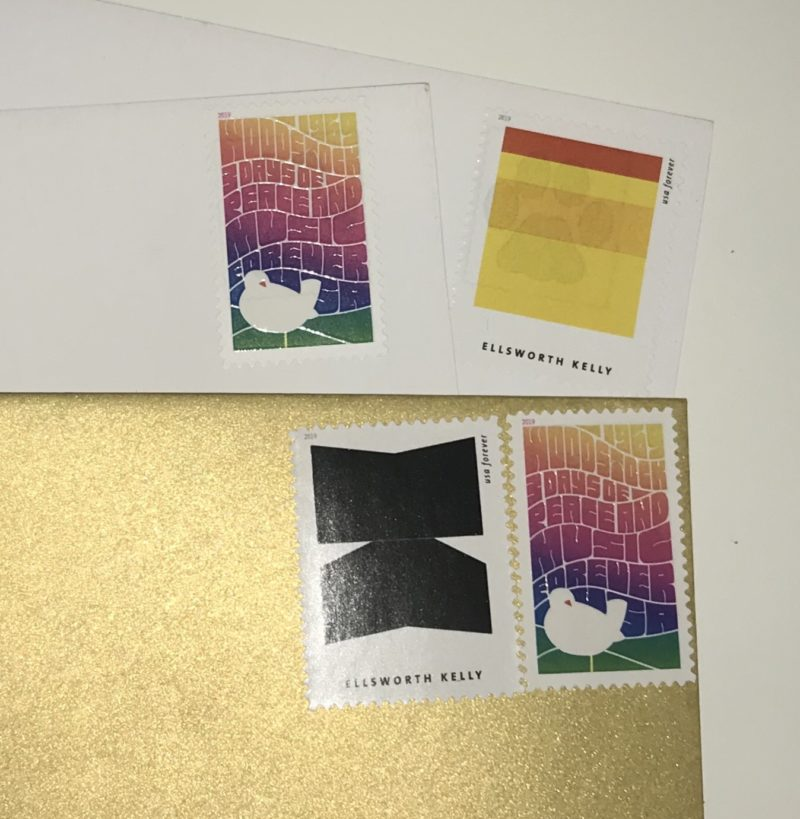 the woodstock stamp and a couple of ellsworth kelly stamps