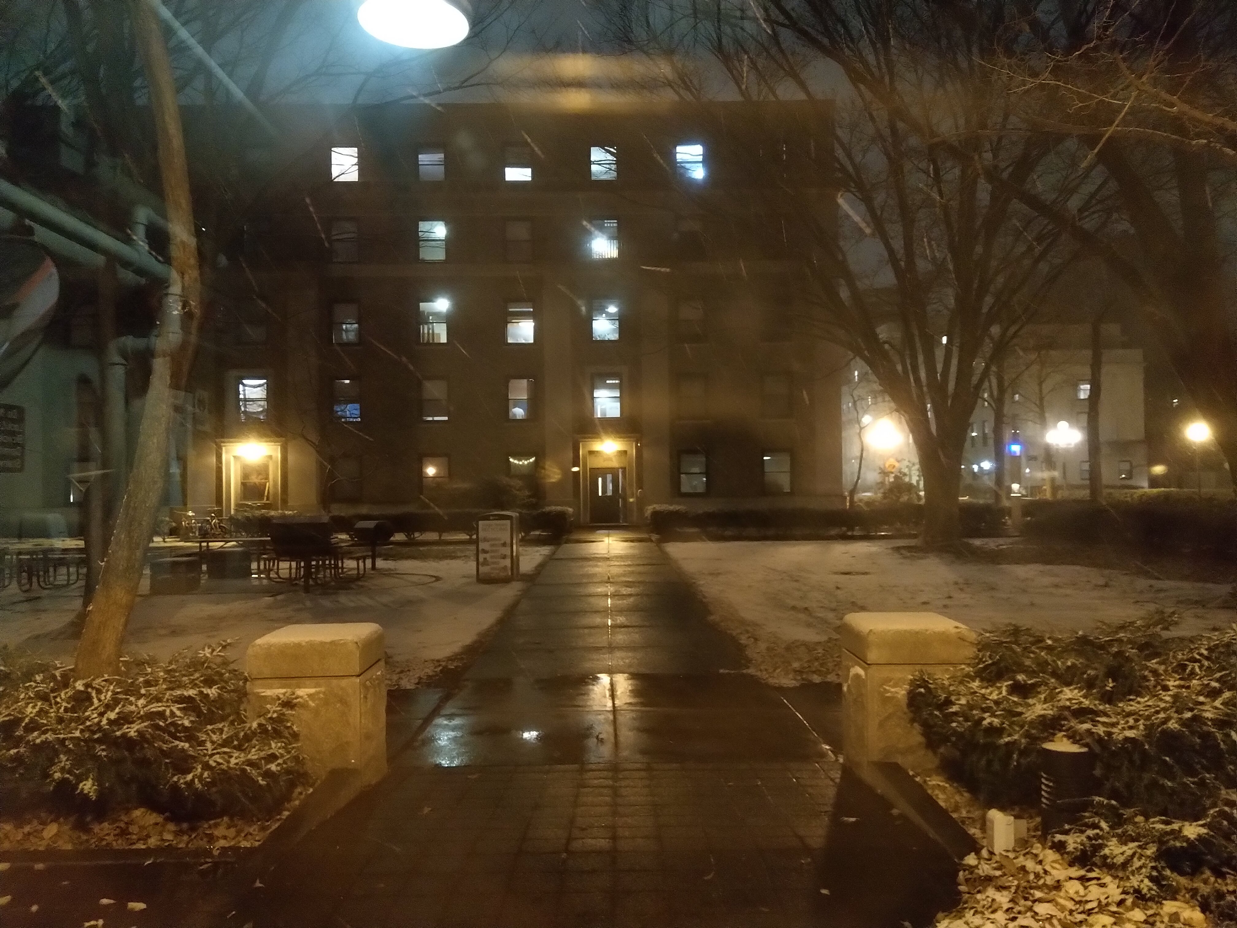 ITS THE EAST CAMPUS COURTYARD BUT. WAIT FOR IT. S N O W !