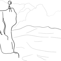 drawing of a stick figure on a cliff looking at the scenery below