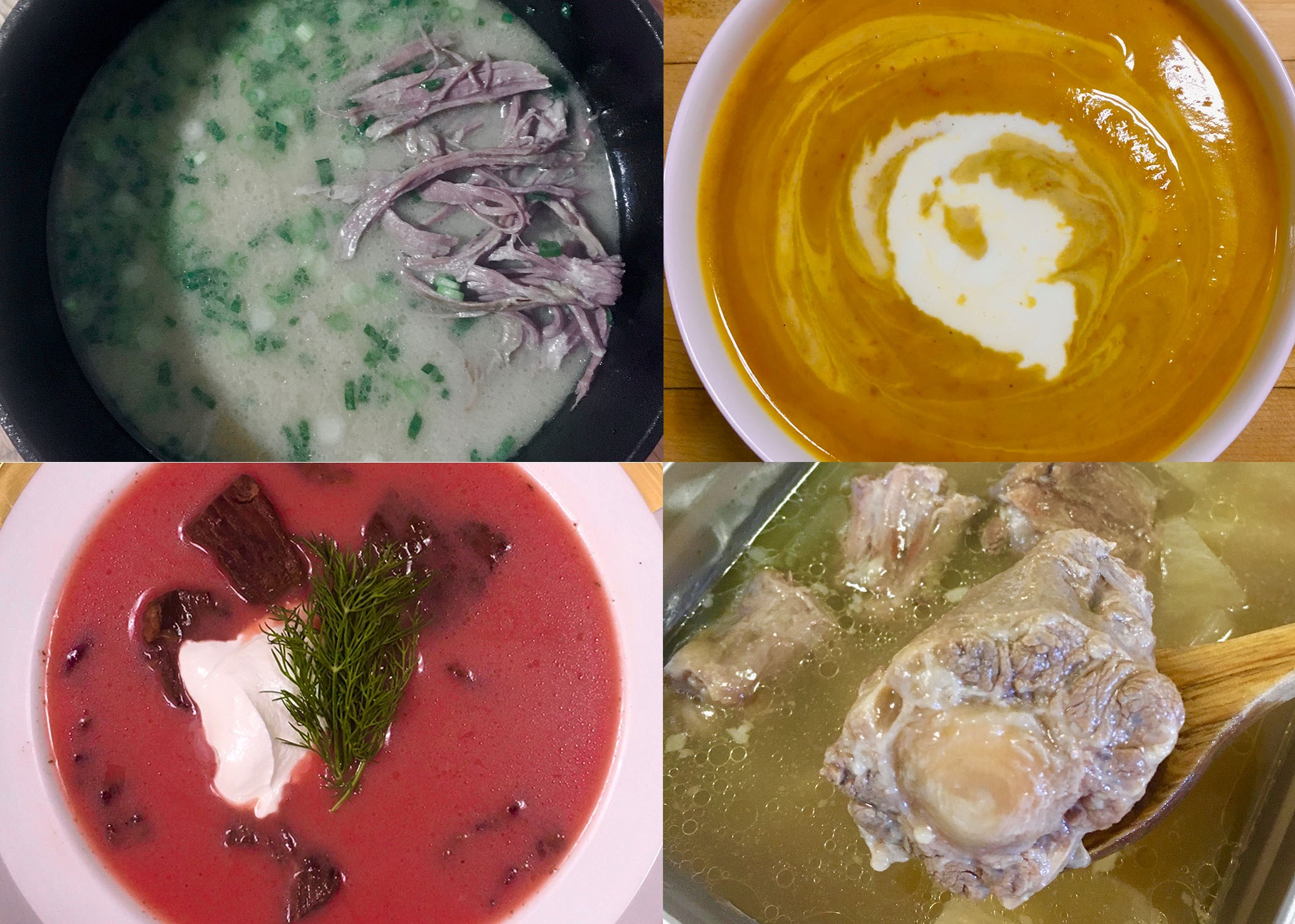 a picture divided into four parts, all soups. they all look soupy. idk