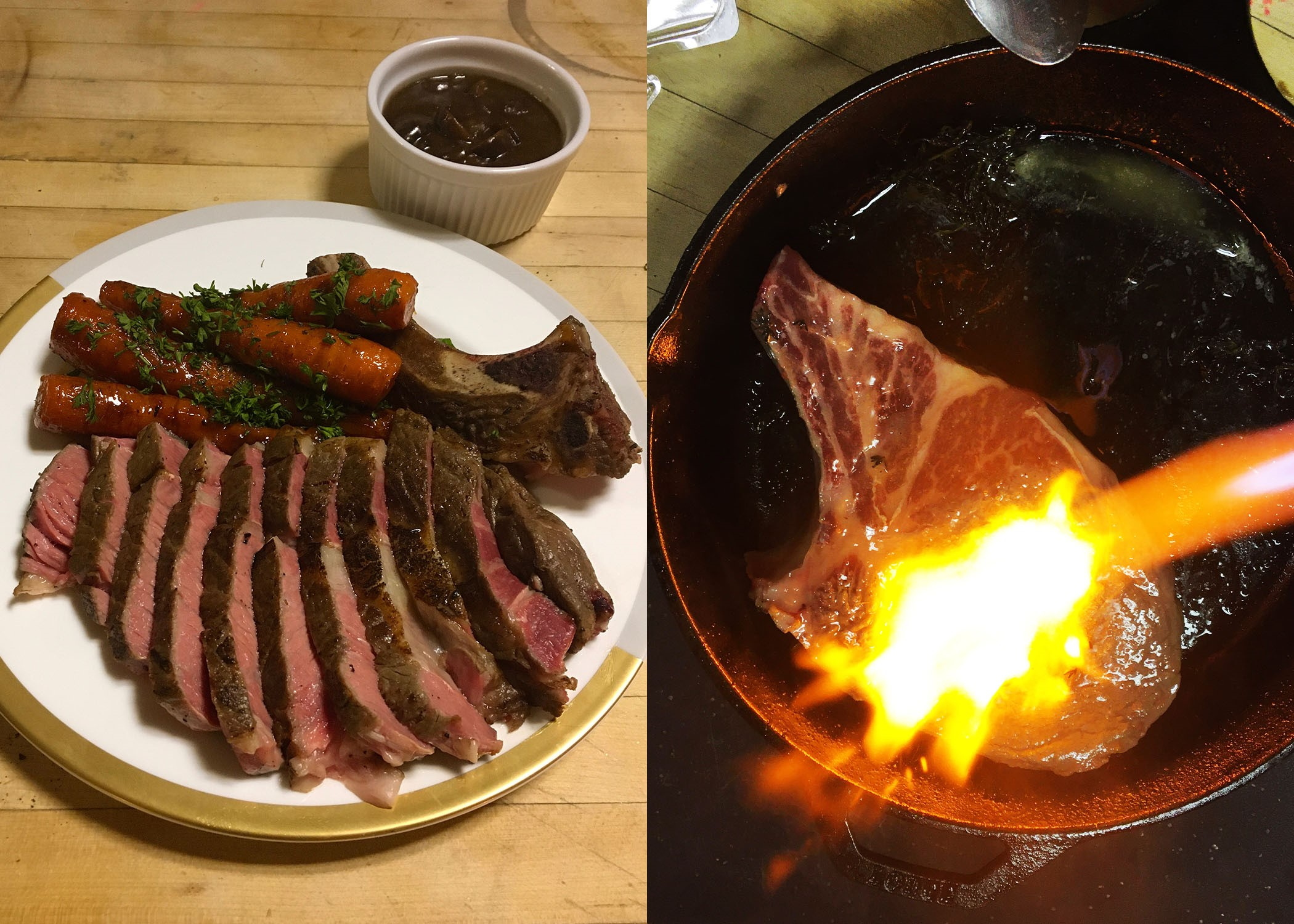picture divided into two parts. left is ribeye slices, carrots, and sauce on a plate; right is a steak being blowtorched