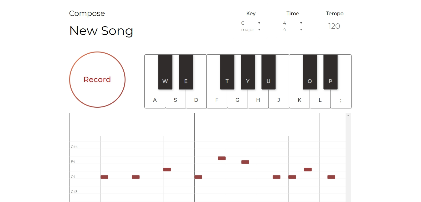 screenshot of the compose page of the website; theres a piano and a record button and a note editor