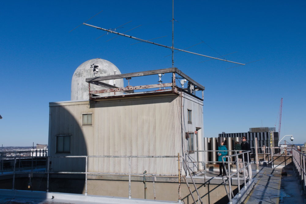 A view of some of the roof. You can see the headquarters, the small radome behind it, and the large six-meter beam on the headquarters' roof.
