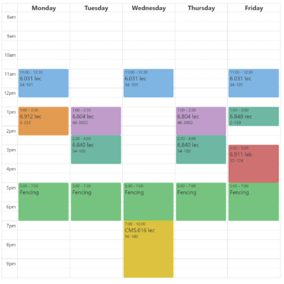 my schedule from the semester