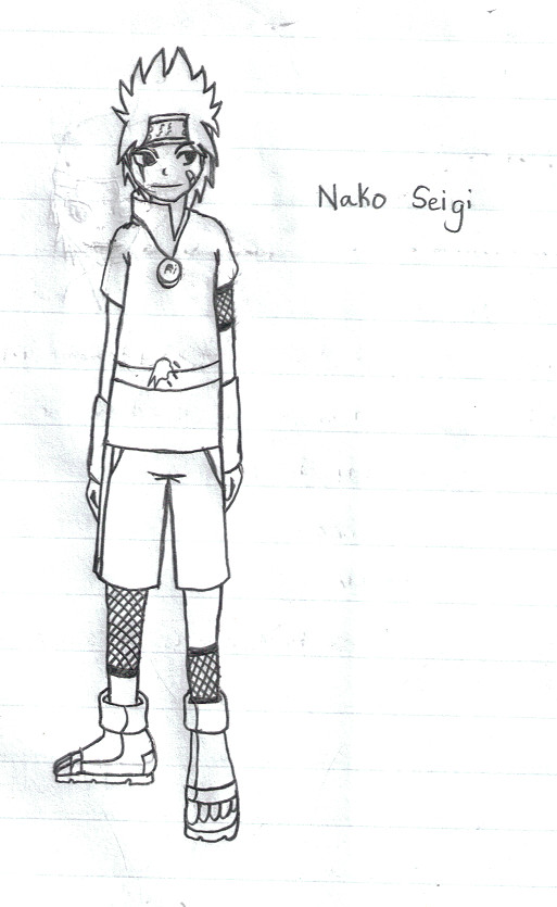a drawing of a naruto original character with spiky hair
