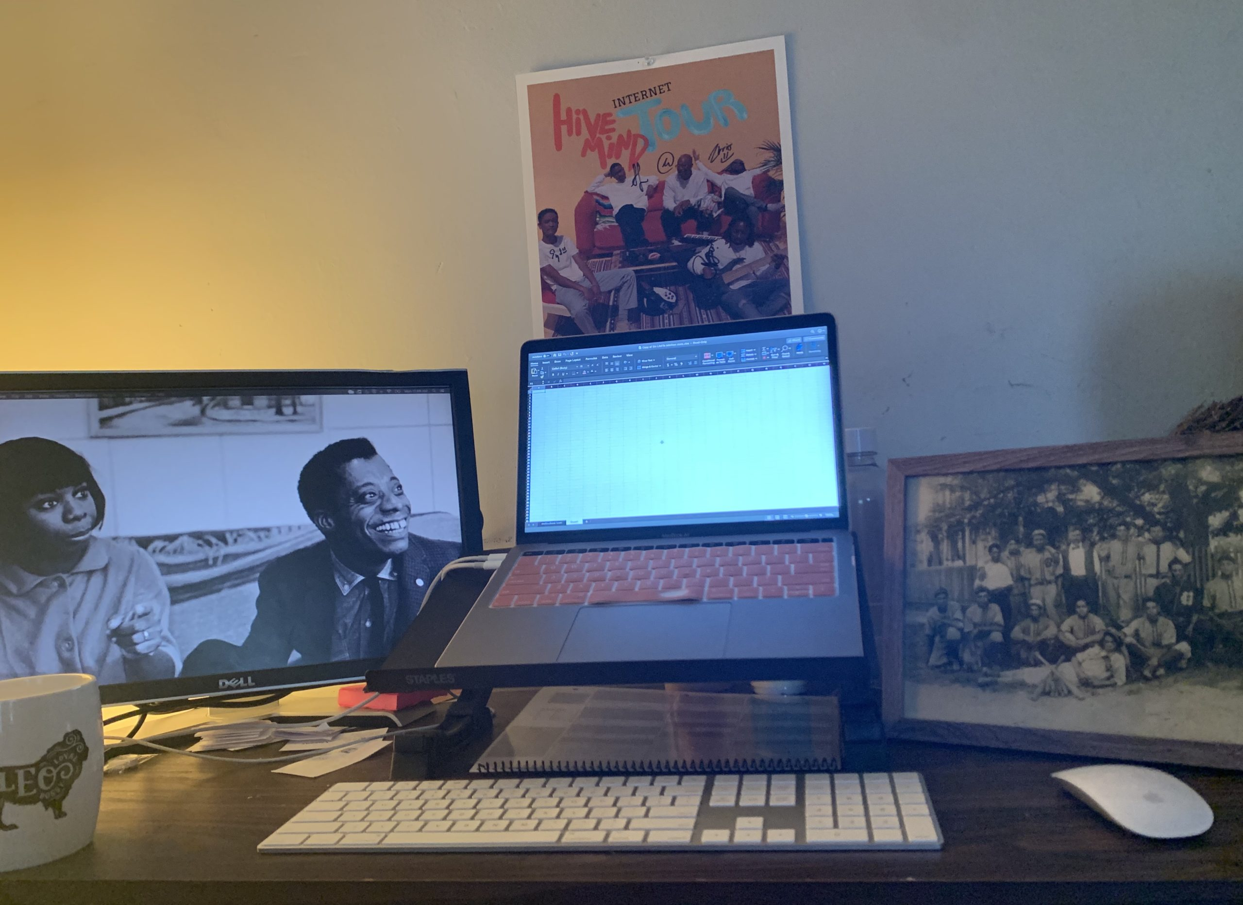 DJ's dual monitor set-up and family photo