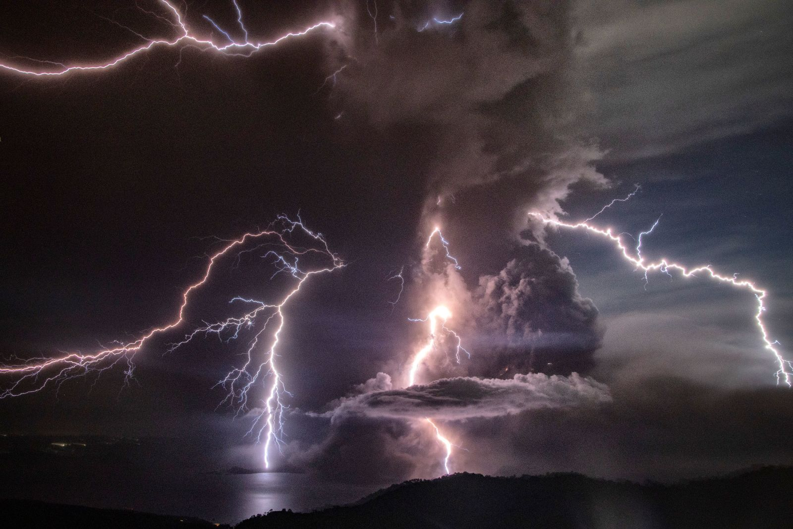 lightning and ash surround the taal's crater