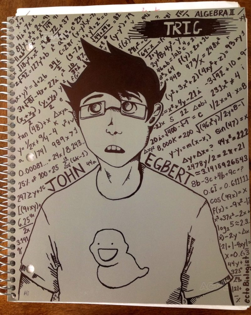 a drawing of Homestuck character John Egbert surrounded by mathematical equations