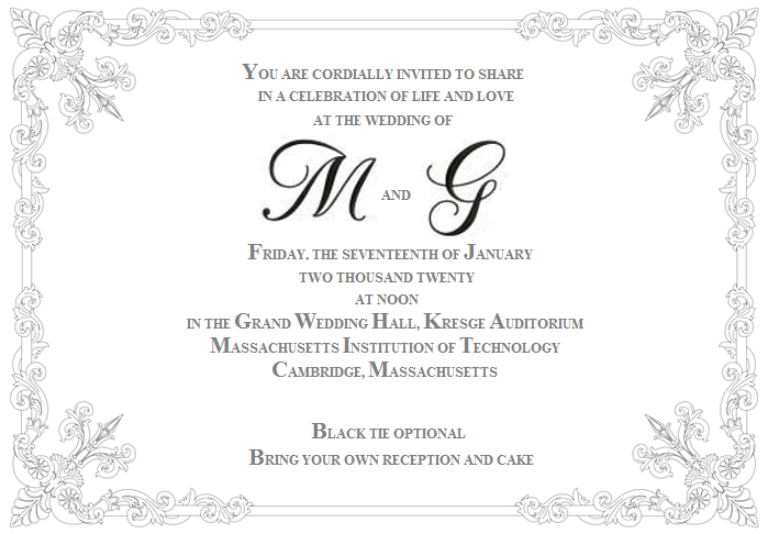 an invitation to the wedding of M and G looking nearly identical to the previous one, with changed details