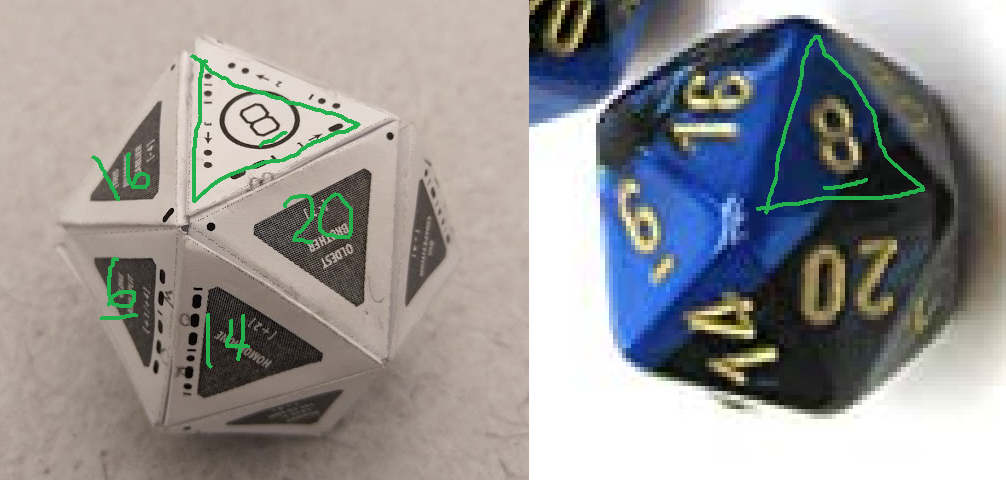 a side by side picture of the icosahedron and a picture of a chessex d20