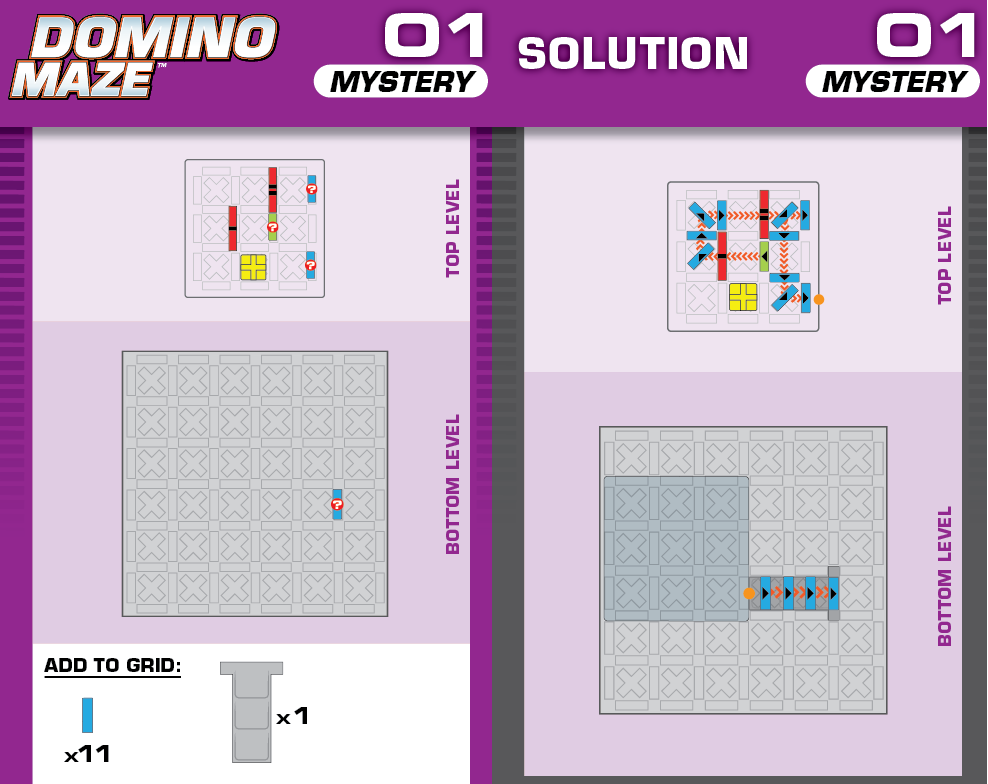 the front and back of one of the expansion cards in domino maze