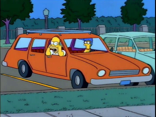 homer simpson yelling out of car window