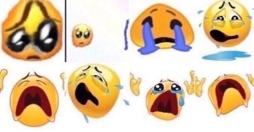 various warped crying emojis