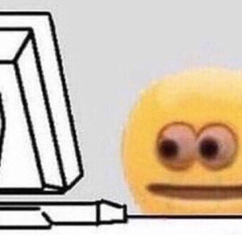 anxious emoji looking at computer