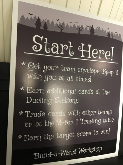 A sign detailing the rules of a Harry-Potter themed activity at the Mystery Hunt.