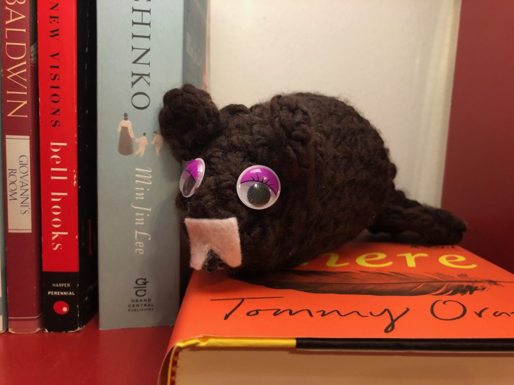a knitted beaver atop some books