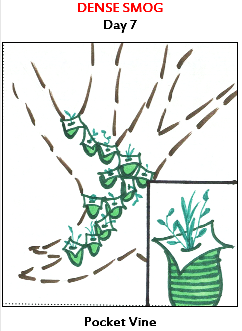 a tree full of attached pockets that are holding plants