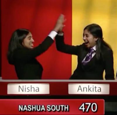me and nisha high fiving