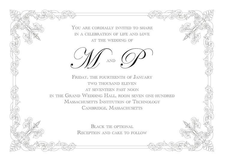 an invitation to the wedding of M and P