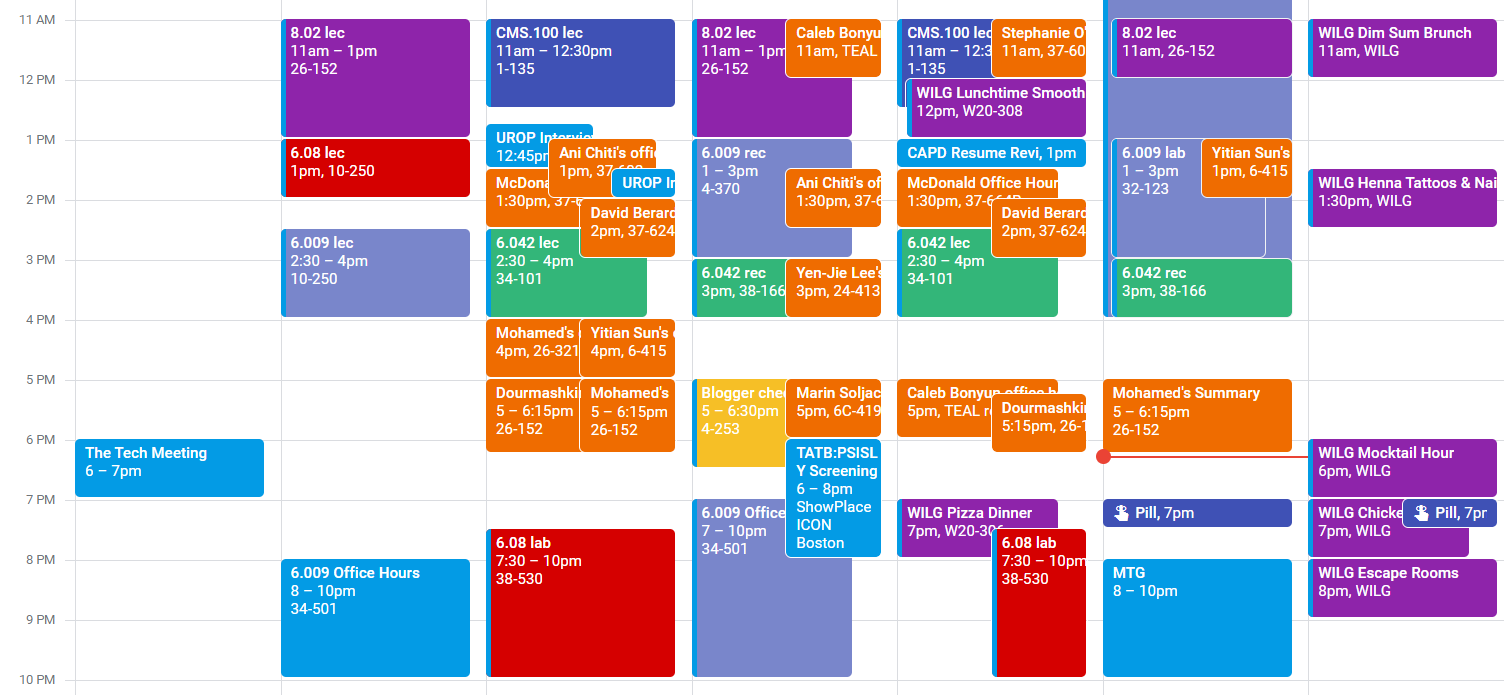 image of my gcalendar