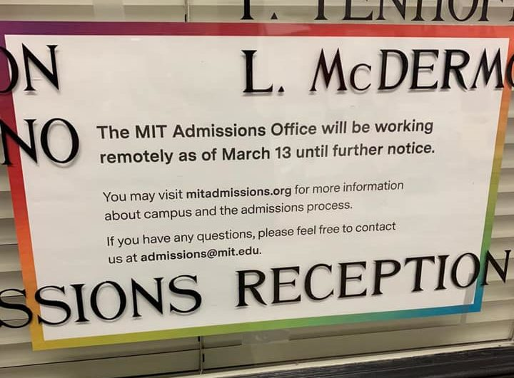 a sign on the admissions office door announcing our closure