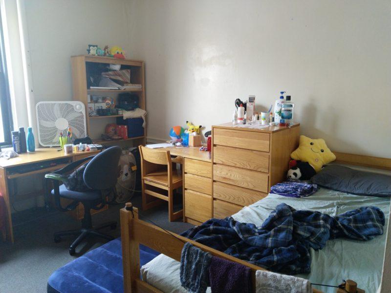 a bed, a stuffed star, a cabinet, a desk, an air mattress on the floor. lots of stuff