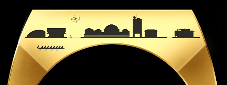 The MIT skyline, as seen on the side of the ring.