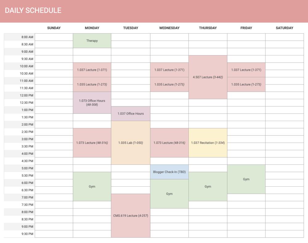 a screenshot of my class calendar