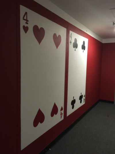 poker-themed hallway