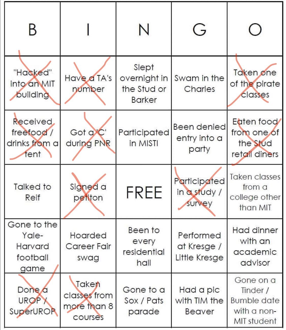 Abby's white bingo. She did not get bingo.