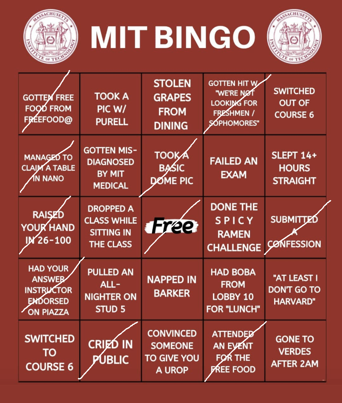 CJ's red bingo. He did not get bingo.