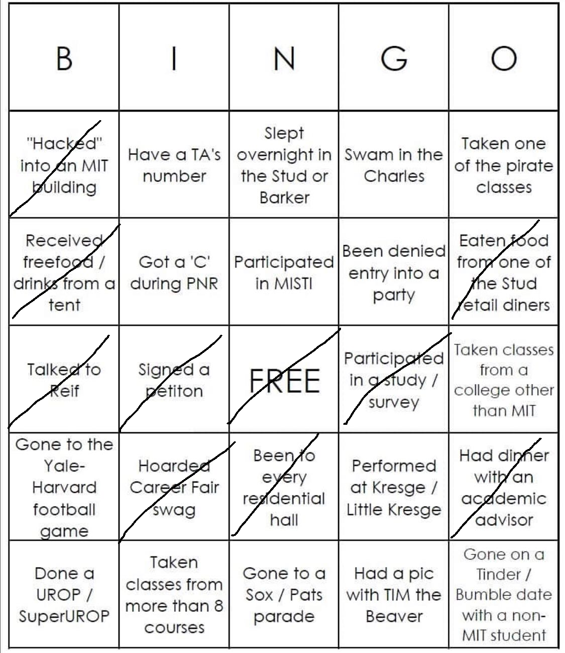 CJ's white bingo. He did not get bingo.