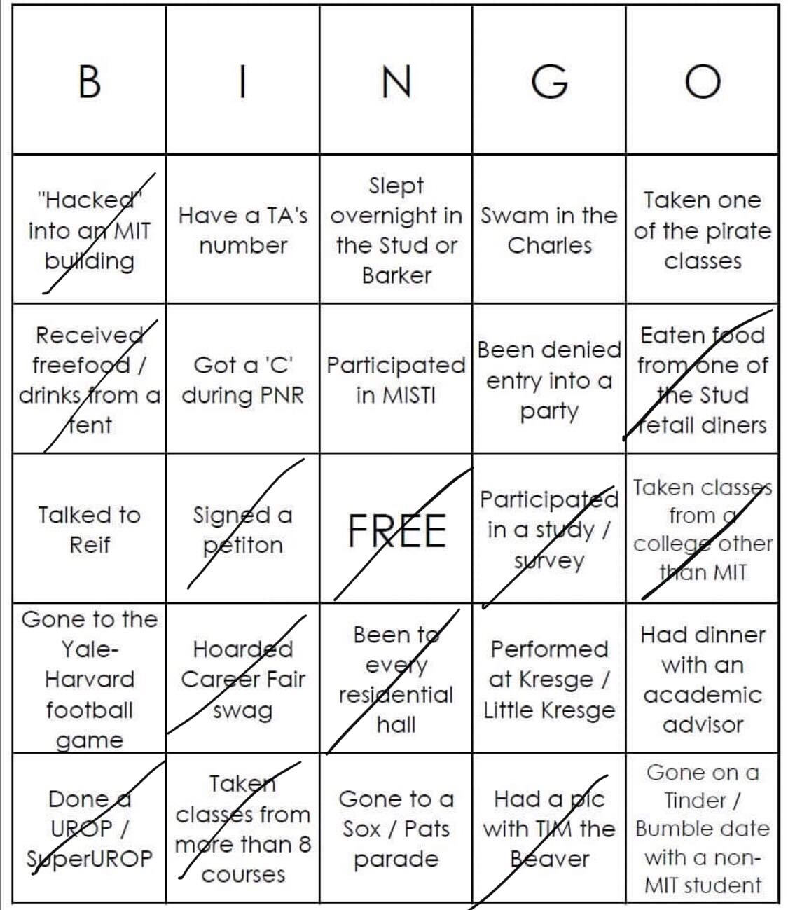 Danny's white bingo. He did not get bingo.