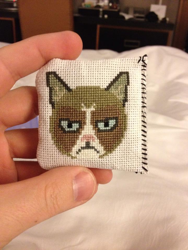Catnip Cross Stitch Pillow