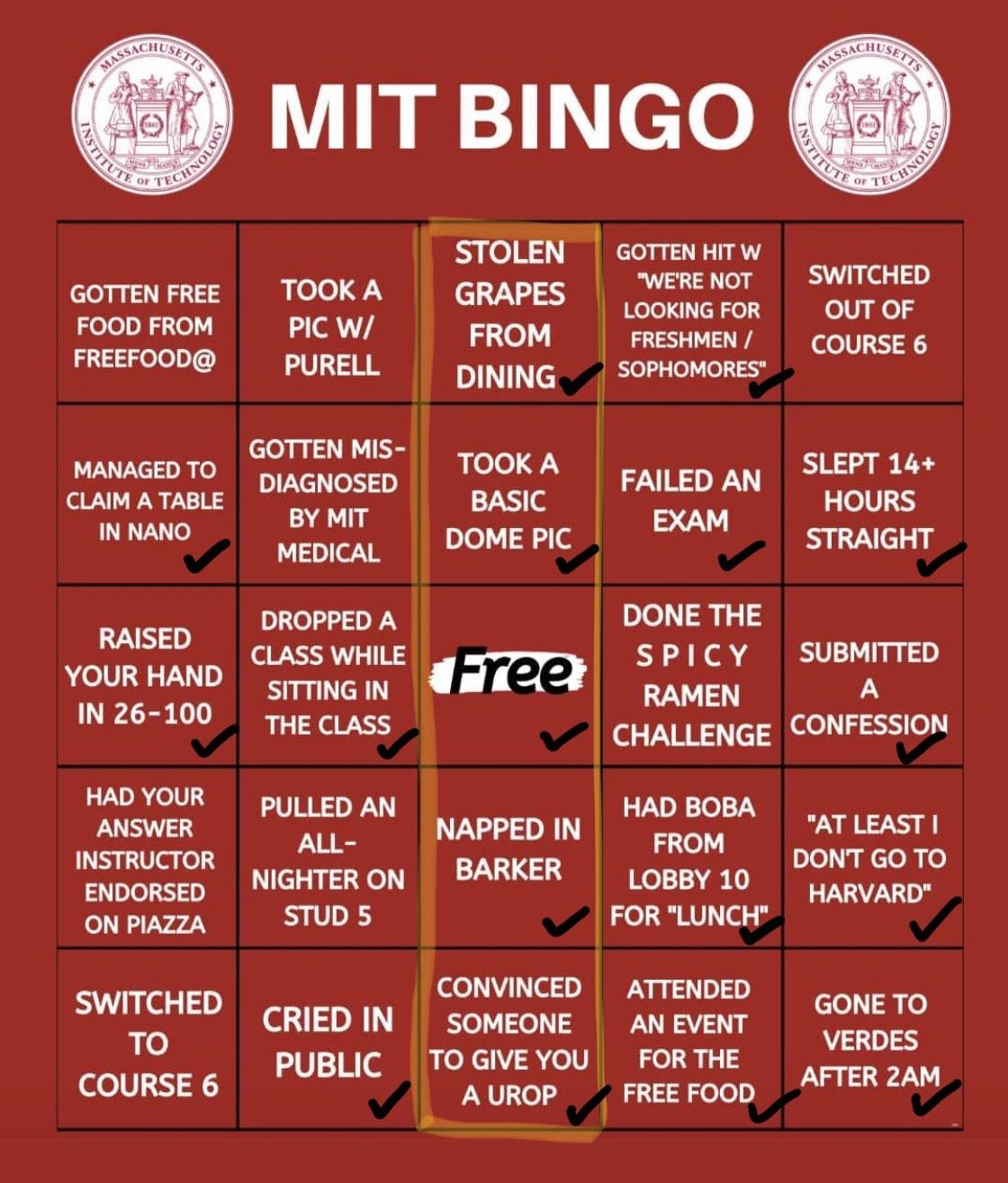"Kidist's red bingo. She got a bingo on: ""stolen grapes from dining"", ""took a basic dome pic"", ""free space"", ""napped in barker"", and ""convinced someone to give you a urop""."