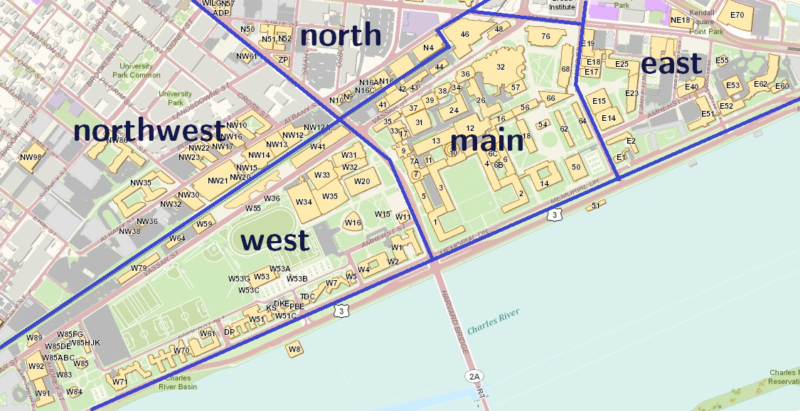 mit's campus, divided into labeled parts