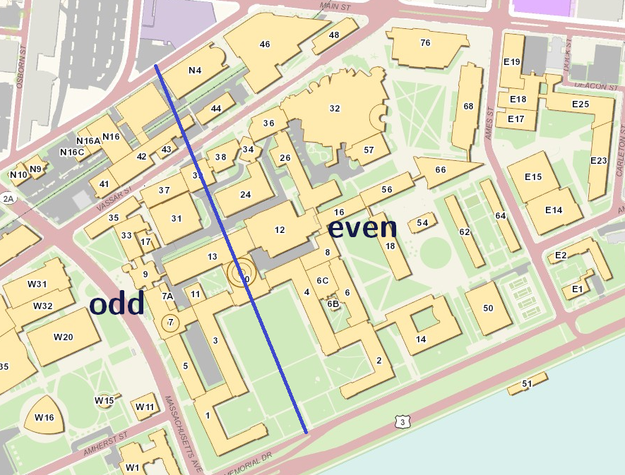 main campus, divided into odd and even