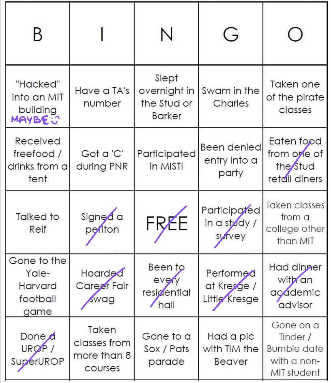 My white bingo. I did not get bingo.