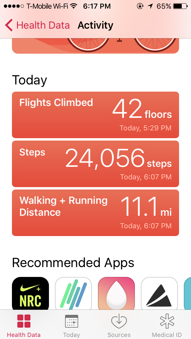 a screenshot of the 11 miles I walked