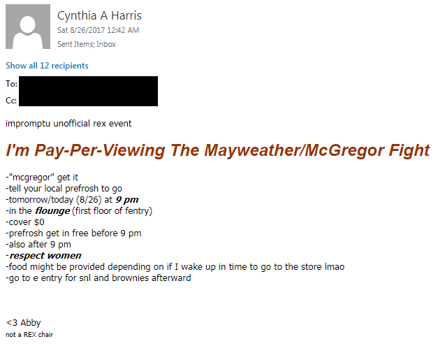 an email advertising the fight