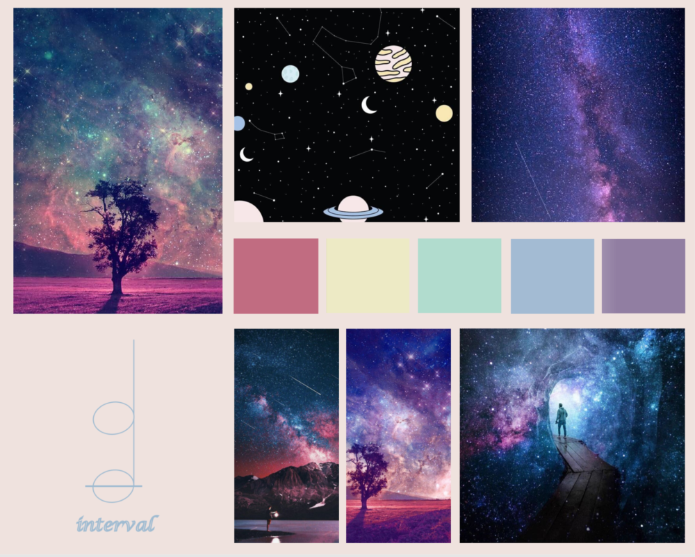 moodboard for joon and nisha's project interval